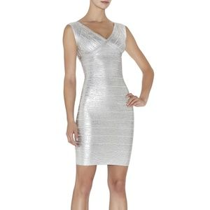 Herve Leger | Karima Woodgrain Foil-Print Dress XS